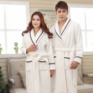 Season bath pajamas bathrobes couple flannel robe men's and women's medium and long thickened bathrobe high-end coral fleece pajamas