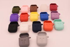 AirPods Için 17 renkler Koruyucu Darbeye Silikon Kılıf Kılıfı Ile Anti-kayıp Askı Toz Fiş Perakende Paketi Için Apple Bluetooth Kulaklık