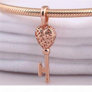 925 Sterling Silver Charm Bead Rose Gold Regal Key Pendant Fit Original Pandora Necklace Bracelet Bangle for Women Jewelry Gift