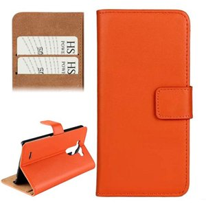 Horizontal Flip Top-grain Leather Case with Card Slots & Holder for LG G3