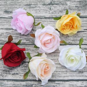 10 Ad Yapay Flower 9cm Gül Başkanları Parti Duvar Dekoru Düğün Arch DIY Dekorasyon İpek Gül Scrapbooking Craft Çelenk Malzemeleri