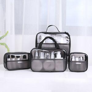 ПВХ косметического мешок из четырех чехлов Простого Wash Bag большая емкость водонепроницаемого Cosmetic путешествие хранение