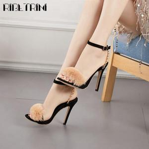 RIBETRINI Femminile Open Toe catena alti calza Solid sandali sexy casuale delle donne del partito del vestito alla caviglia Sandali Strap