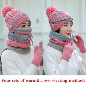 Dört erkek setleri ve sonbahar ve kış moda sıcaklık örme atkılar, eldivenler, yün şapkalı kadın şapkası, maskeler perakende toptan
