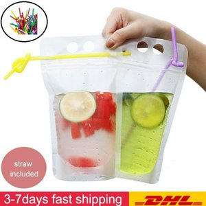 DHL Ship 500ML Clear Drink Pouches Bag With Straw Reclosable Zipper Heavy Duty Hand-held Translucent Stand-up Plastic Pouches Bags Drinking