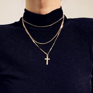 Einfache modeschmuck vergoldet anhänger doppel kette kreuz charme choker halsketten anhänger für frauen gothic collares