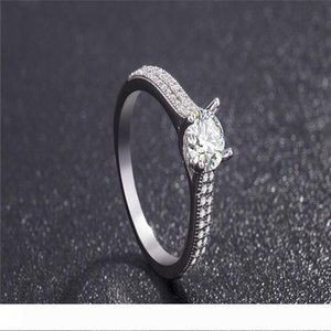 New White Gold Plated cz Zircon Engagement Rings For Women Lovers Gifts Fashion 925 Silver 5MM Crystal Wedding Ring Sets