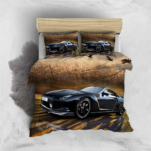 Thumbedding Black Car Bedding Sets Reeds Fashionable 3D Duvet Cover King Queen Twin Full Single Double Comfortable Bed Set