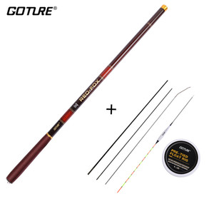 Goture Rod Combo Telescopic Fishing Rod 3.0M-7.2M من ألياف الكربون 2 / 8-3 / 7 قوة اليد القطب + الصيد تعويم RigSpare أعلى ثلاثة نصائح