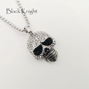 Black Knight Full Strest Bling Bling Skull pendant neckalce Collana color argento cranio punk in acciaio inossidabile BLKN0780