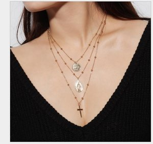 Ornaments Retro Personality Euro-Fan Necklace Ornaments The Virgin Mary Cross Hanging Multilayer Bronze Bead Necklace