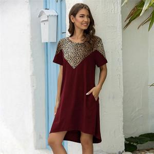 Одежда женская Desinger леопардовый Платья шеи экипажа с коротким рукавом Повседневная линию платья 2020 женские