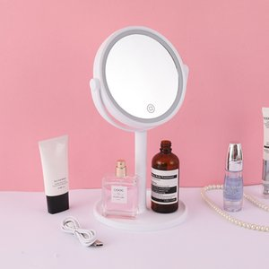 Free shipping 3 IN 1 LED Fan Mirror with 5X Magnifier LED Light and Fan Dual Powered by Battery or USB Cable Touch Sensor LED Makeup Mirror