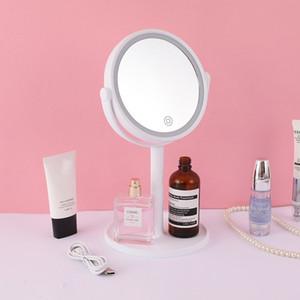 건전지 또는 USB 케이블 터치 센서 LED 메이크업 거울에 의해 구동 5 배 돋보기 LED 라이트와 팬 이중 1 LED 팬 거울에 무료 배송 3