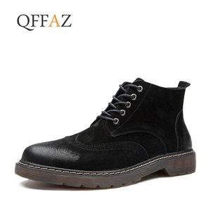 QFFAZ Haute Qualité En Cuir Véritable Hommes Bottes Printemps Automne Bottines À Cheval En Plein Air Travail Hommes Chaussures