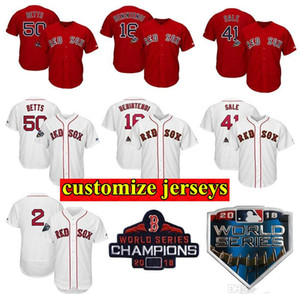 Personnalisé Boston Mens Jersey Boston 2018 World Series Patch Champions Série mondiale Mookie Andrew Betts Benintendi Baseball Maillots
