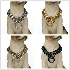 Comfortable Daily Use Pet Heavy Duty Choke Collar Necklace Huge Double Cuban Curb Chain Stainless Steel Collar For Dog's 12-34""