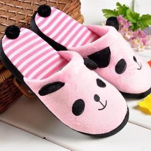 Женщины теплые тапочки Прекрасный мультфильм Panda Home Пол Мягкая нашивки Тапочки Зима Женская обувь
