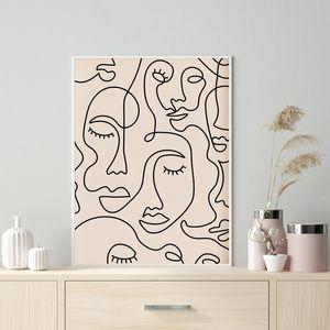Imprimir Linha art da cara minimalista Poster da face da mulher One Line Drawing Neutral Wall Art Canvas casa pintura da parede da sala Decor