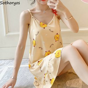 Nightgowns Women Printed Sleeveless Oversize Stylish Sweet Bow Korean Style Casual Homewear Chic Lovely Students Spaghetti Strap