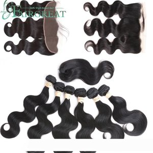 pelucas Fairgreat 6bundles Remy Human hair Straight & body wave With Closure Human Hair Bundles With13*4Lace frontal Brazilian human hair Ex