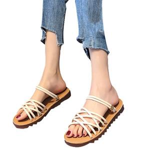 Verano sandalias abiertas del dedo del pie de la cruz CHAMSGEND Mujeres correas deslizadores de la playa zapatos planos salvajes cómodas sandalias casuales sandalias planas