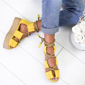 Sıcak Satış-Adisputent Güzel Kadınlar Sandalet Bayan Plaj Ayakkabı Ayakkabı Topuk Rahat sandalet Artı Boyutu sıkıştırın