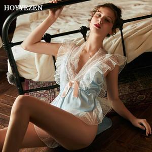 Hoyyezen сексуальное женское белье женщина пижамы прозрачный глубокий V тонкий раздел кружева синий onesie ленивец пижамы Y200425