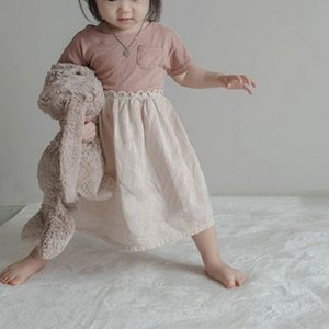 2020 Summer Korean Children's Clothing New Girls Fresh Color Matching Retro Casual Dress