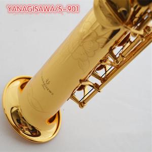 YANAGISAWA B soprano plana saxofón S-901Soprano saxofón del instrumento de música de cobre amarillo de oro clave case.Reed. Boquilla