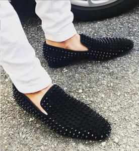 Partido de lujo Loafers Rojo soles marcas de vestir Zapatos de boda del diseñador NEGRO Suede zapatos de cuero de los pernos prisioneros de vestir para hombre de Puntos por un resbalón en los Pisos