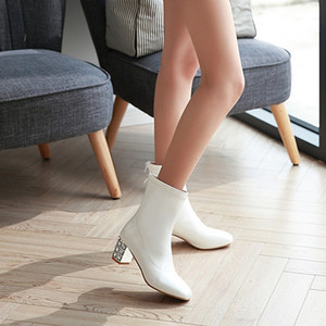 Hot Sale-und Toe Ankle Boots for Women Autumn Diamond Clear Thick Heel High Heels Shoes Rain Boots Women Winter Warm Shoes