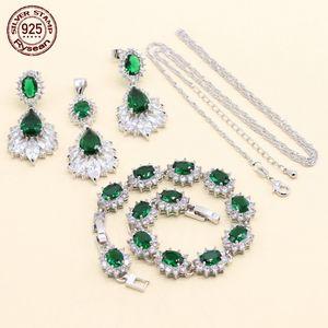 925 Sterling Silver Jewelry Set Mulheres Presente de Aniversário Comprimento Ajustável Pulseira Colar Pingente Brincos Verde Semi-Precious