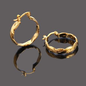 22K 23K 24K Thai Baht FINE YELLOW SOLID GOLD GP EARRINGS Hoop E India Jewelry Brincos Top Quality Wave