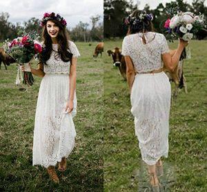 Vestido de novia romántico de dos piezas con mangas de encaje boho cuello redondo hasta el tobillo bohemio hippie corto vestido de novia para las mujeres 2019