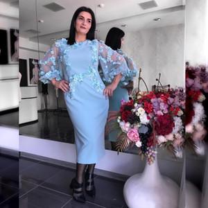 Light Blue Mãe da flor Noiva do laço Dresss Bainha 3D Appliqued poeta manga comprida vestidos de mães vestidos de noite formal de Clientes
