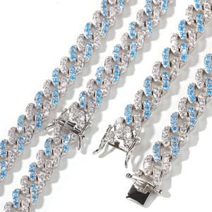 8 millimetri Mens Hip Hop Bling Bling Blue Sea Zirconia cubico di Cuba la catena a maglia della collana del braccialetto fuori ghiacciato Punk Rock Rapper regali gioielli per gli uomini Guys
