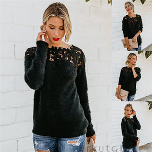 Женская Сыпучая Вязаный пуловер свитер O шеи длинного рукав Трикотаж Top Lace Цветочного Воротник зима Женская одежда