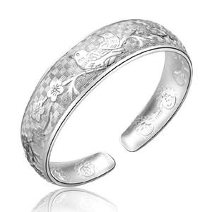 Nova Moda pássaros bonitos Pulseira Flor Bangles elegantes Sólidos 925 pulseiras de prata esterlina para mulheres presente AY336