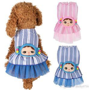 Estate Dog principessa Dress Cute bambina disegnare abiti per le piccole medie Female Dog Pet plaid stampato Gonna Dress