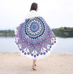 professional microfiber beach mat logo customized digital printed round beach towel fringed tapestry blanket Home Decor Yoga Mat Shawl 150cm