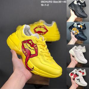 Para hombre de la zapatilla de deporte Rhyton con la impresión del labio de la boca NY Yankees de mujer de marca Trainer diseñador de los hombres de la vendimia de la escalada de los zapatos ocasionales de gran tamaño de la zapatilla de deporte