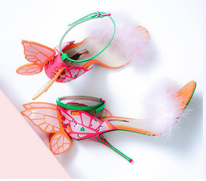 2019 Sophia Webster Chiara butterfly leather sandals blue multi leather shoes blue shoes heeled sandals summer genuine leather shoes