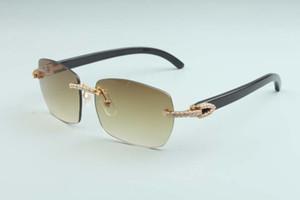 Заводская заводская выхода последние A6-B3524012 Diamond Natural Black Horn Horn Hord Diamond Lens Солнцезащитные очки Мода Мужчины и Женщины Безграничные солнцезащитные очки