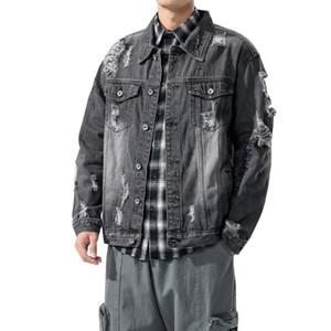2020 Denim Jacket Men Hole Retro Motorcycle Jeans Coat Streetwear Hip Hop Bomber Jacket Cowboy Mens Denim Jacket Chaqueta Hombre