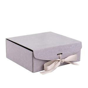 100PCS / lot Corrugated Geschenkbox mit Band Verpackung mit Box-Mailer Verpackung Kleidung Haarperücken Geschenk