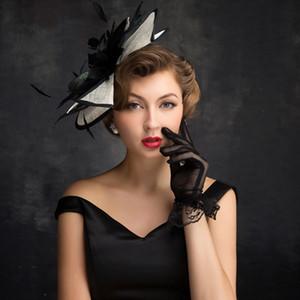 todo-fósforo femenino accesorios de novia tocado de plumas ropa de Mao Mao Accesorios gorro de lana sombrero sombrero negro