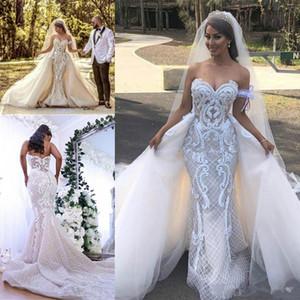 Sexy Русалка Свадебные платья со съемной поезд 2020 Современные 3D Lace Цветочные арабский Дубай Garden Country Внешний платье невесты Wear