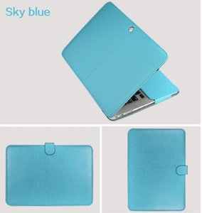 "Funda de cuero PU para Macbook Air 11 Air 13 Pro 13 Pro 15 '' Nuevo Retina 12 13 15 Funda para Macbook 13.3 ""15.4"" 15.6 ""-Sky Blue"