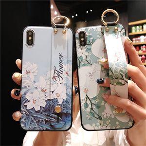 1 STÜCKE Handgelenk Band TUP Fall Für iPhone XS XR XS Max 7 8 Plus 6 S Klopfen Blume Tier Muster Nette Stand Cases Coque